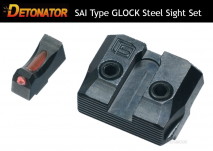 DETONATOR - Salient Arms Type Steel Front & Rear Sight For Tokyo Marui Glock GBB Series