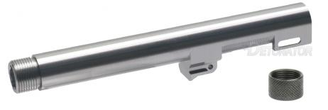 DETONATOR - Gemtech Type 14mm CCW Threaded Aluminum Outer Barrel with Thread Cover Silver For Tokyo Marui M9A1