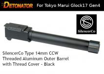 DETONATOR - SilencerCo Type 14mm CCW Threaded Aluminum Outer Barrel with Thread Cover Black For Tokyo Marui Glock17 Gen4