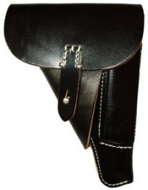 EAST-A - LEATHER SILHOUETTE HOLSTER / THUMB BREAK CROSS TYPE/ For MARUZEN Walther P38 (ac41) Blowback BLACK