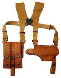 EAST-A - HORIZONTAL SILHOUETTE SHOULDER HOLSTER WITH LEATHER WIDE HARNESS TYPE DOUBLE MAG POUCH / THUMB BREAK/ USP/P8 BROWN