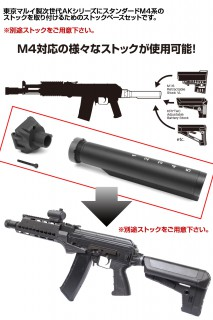 LAYLAX/FIRST FACTORY - Tokyo Marui Next Gen AK Stock Base (M4 Buffer Tube Adaptor)