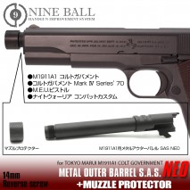 LAYLAX/NINE BALL - Tokyo Marui M1911A1 Metal Outer Barrel SAS NEO + Muzzle Protector