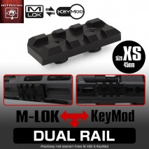LAYLAX / Nitro.Vo - Dual Rail XS Xtra Short 45mm Picatinny Rail for Keymod & M-lok