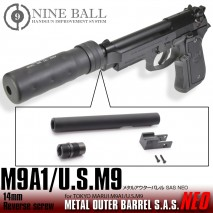 LAYLAX/NINE BALL - Tokyo Marui M9A1/US.M9 Metal Outer Barrel SAS NEO 14mm CW & CCW